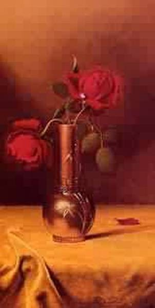Two Red Roses in a Bronze Vase 1885jpeg